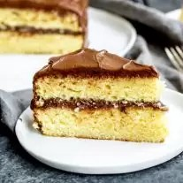 yellow butter cake slice frosted with chocolate