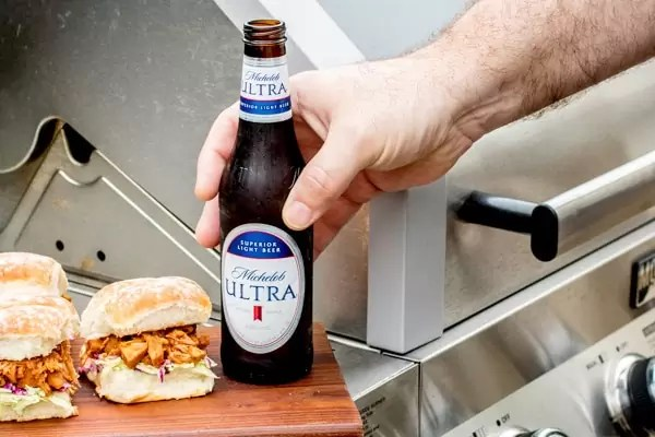 BBQ Jackfruit Sliders and beer on grill