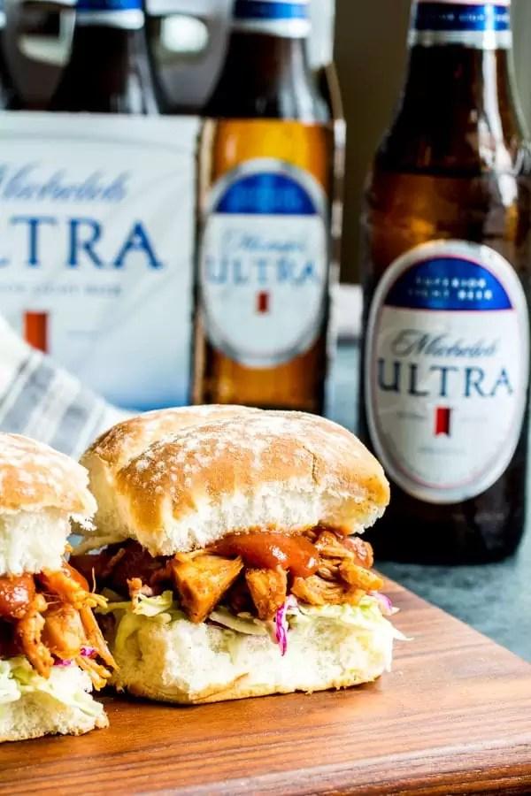 vegetarian BBQ Jackfruit Sliders and beer