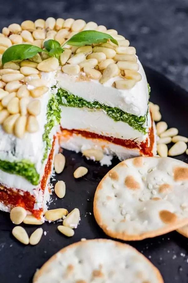 5 layer Pesto Cream Cheese Spread