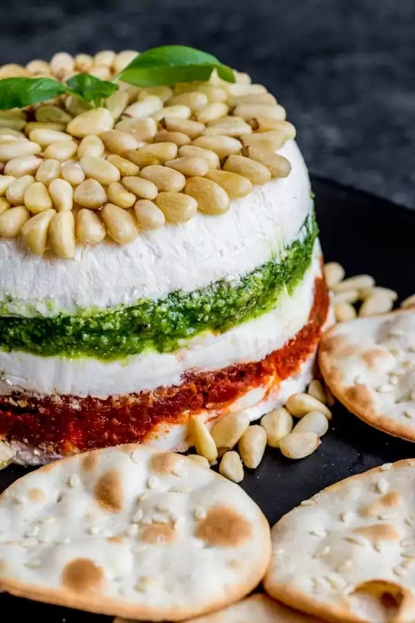 Pesto Cream Cheese Spread for the holidays