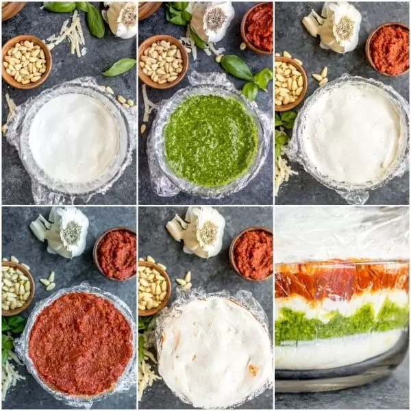 Steps for making Pesto Cream Cheese Spread