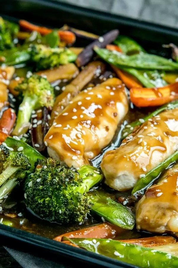 Sheet Pan Honey Garlic Chicken and Veggies made in one pan