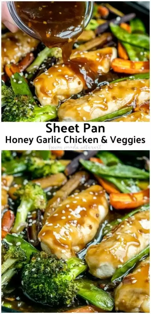 This easy Sheet Pan Honey Garlic Chicken with Veggies has the flavors of a stir fry. It's a one pan honey garlic chicken with a sweet, tangy, marinade. Baked in the oven for 15 minutes, this is a quick and easy dinner recipe for families. #chicken #chickenrecipes #honeygarlicchicken #sheetpandinners #homemadeinterest