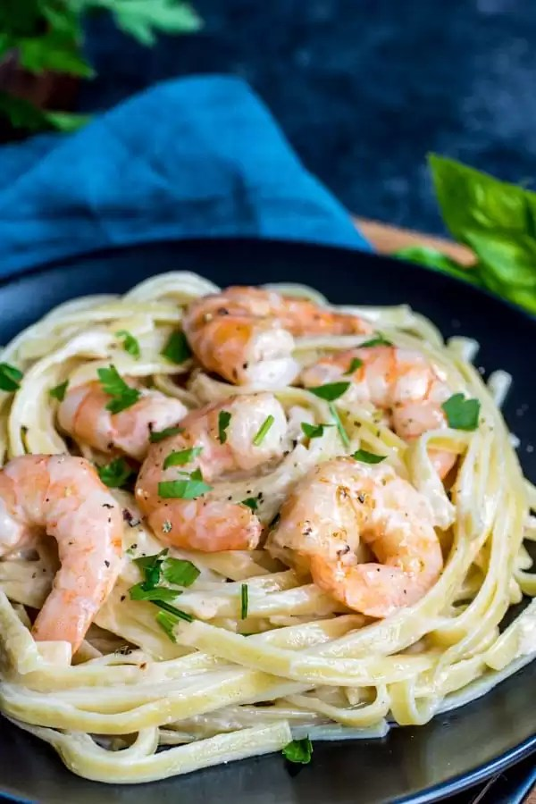 Shrimp Alfredo on a black plate