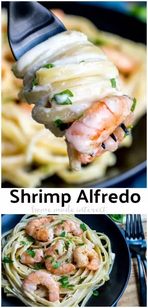 This easy recipe for Shrimp Alfredo Pasta makes a great meal. Creamy homemade Alfredo sauce with garlic, and shrimp, tossed with fettuccine pasta. This is the BEST homemade shrimp Alfredo. #shrimp #pasta #sauce #alfredo #homemadeinterest