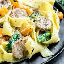 Creamy Sausage Pasta with Butternut Squash on plate