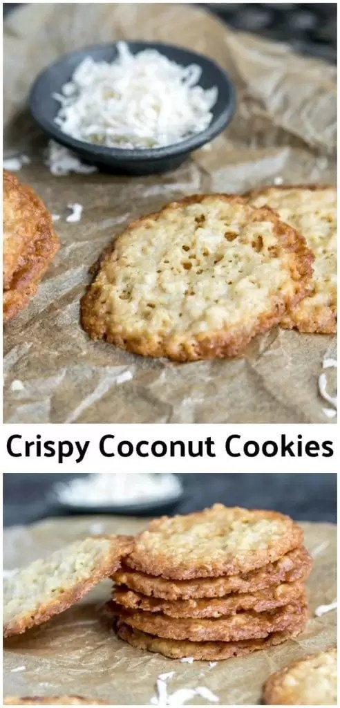 These Crispy Coconut Cookies are one of my favorite classic cookie recipes. They are light, delicious cookies that are perfectly crispy on the outside with just a little but of chewy in the middle. A mix of oats and coconut make these classic cookies the perfect Christmas cookie recipe for your next cookie exchange! #cookies #coconut #christmascookies #christmas #dessert #homemadeinterest
