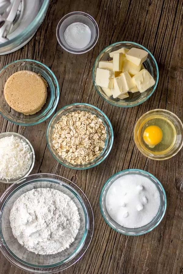 ingredients for Crispy Coconut Cookies