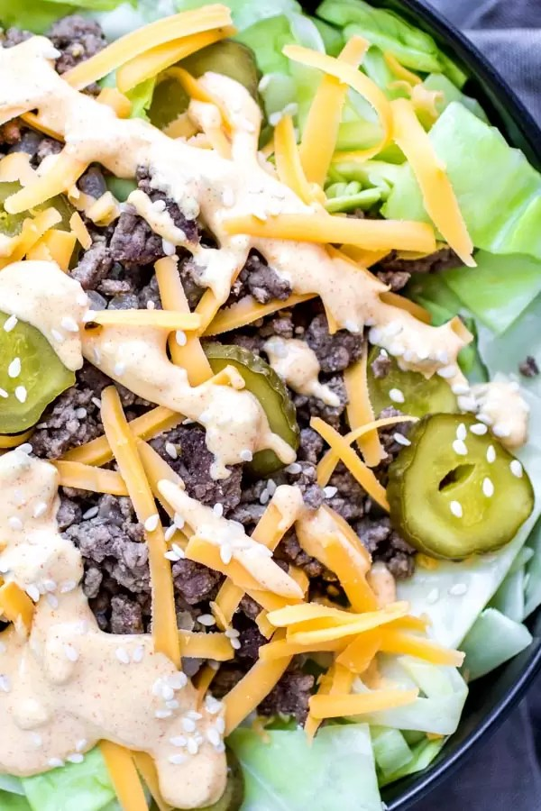 Low Carb Big Mac Bowl topped with special sauce