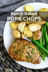 This easy recipe for Ranch Baked Pork Chops is baked in the oven for a tender, juicy pork chop packed full of ranch flavor! You can make these ranch pork chops with boneless or bone in pork chops. They are low carb and make a healthy addition to any weeknight dinner. Serve them with Roasted Ranch Potatoes for a complete dinner! #ranchdressing #ranch #pork #porkchop #dinner #backtoschool #lowcarb #healthyeating #homemadeinterest