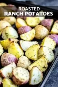 These easy Roasted Ranch Potatoes are tossed with butter and a blend of spices that make ranch seasoning. Then they are baked in the oven for the best roasted potatoes you've ever had! Make these for weeknight dinners that your family will love. It's the ultimate comfort food! #comfort food #potatoes #potato #ranch #sidedish #dinner #backtoschool #hungry #homemadeinterest