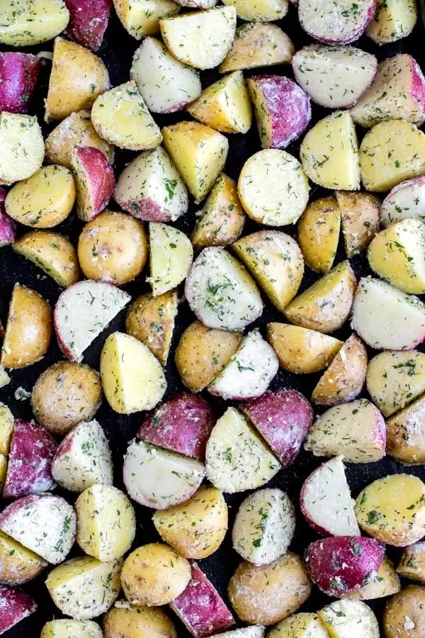 raw cut potatoes for Roasted Ranch Potatoes