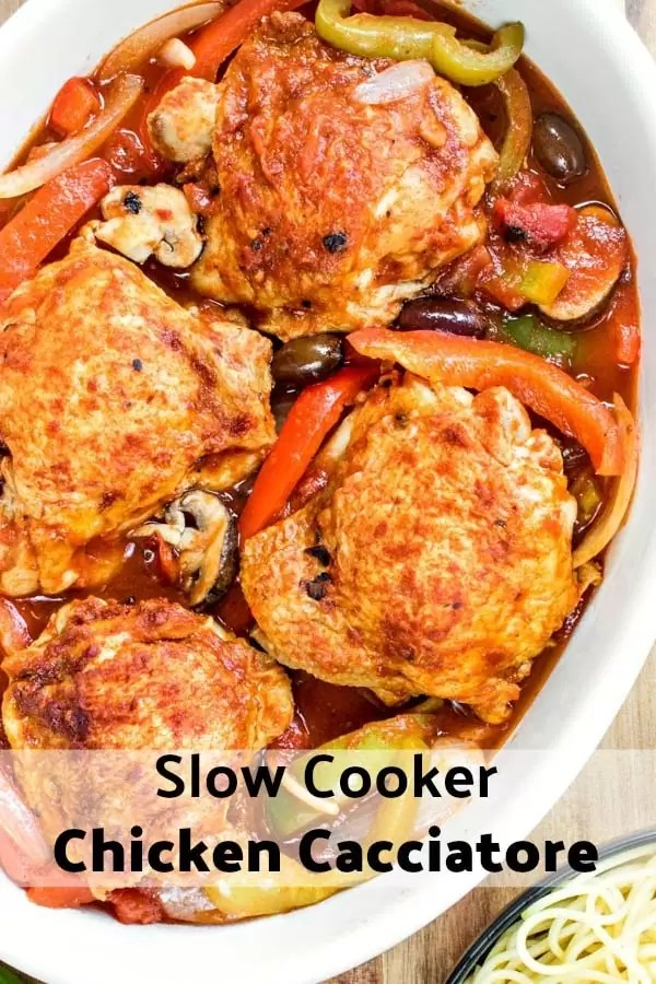 Slow Cooker Chicken Cacciatore is one of those easy crock pot recipes that families will love for dinners. Chicken braised in a rich tomato sauce and served with potatoes or pasta, slow cooker chicken cacciatore, or hunter-style chicken, is one of those comfort foods everyone loves. #italian #chicken #dinner #sauce #slowcooker #crockpot #chickencacciatore #comfortfood #homemadeinterest