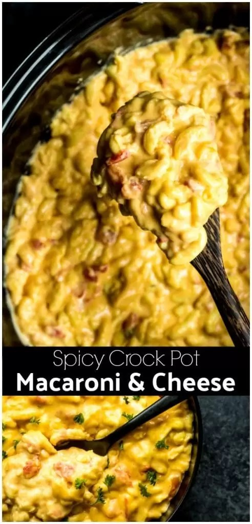 This easy Spicy Crock Pot Macaroni and Cheese is made in a slow cooker with evaporated milk, Velveeta cheese, and Rotel. This No Boil macaroni and cheese is one of the BEST comfort foods and Spicy Crock Pot Macaroni and Cheese is perfect for a crowd. #macncheese #macaroniandcheese #pasta #slowcooker #crockpot #rotel #comfortfood #cheese #homemadeinterest