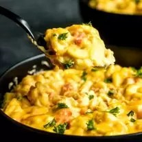 spoon of Spicy Crock Pot Macaroni and Cheese