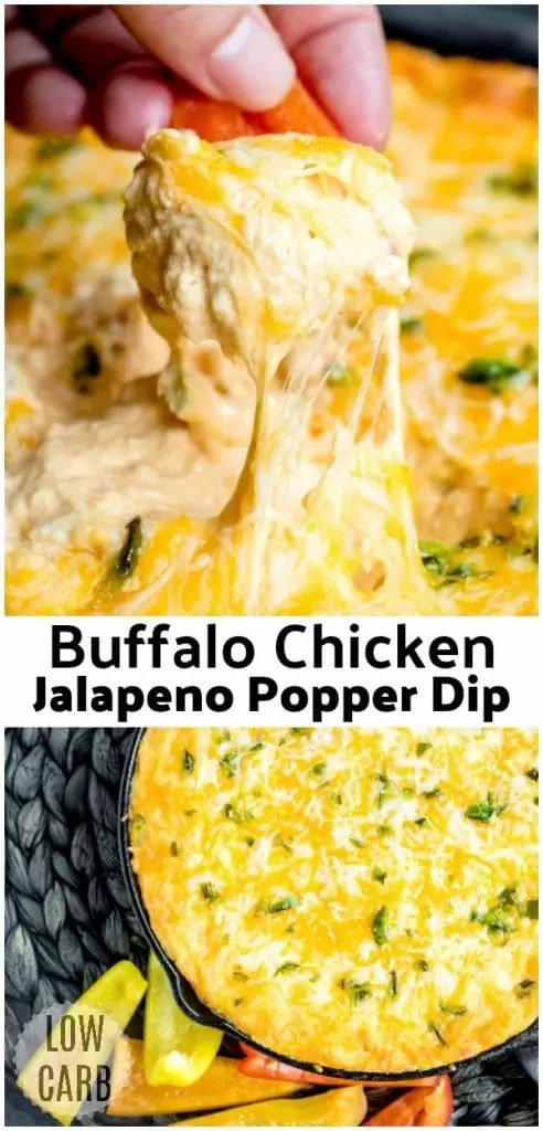 Buffalo Chicken Jalapeno Popper Dip is an easy hot dip recipe that is low carb. Whether you're hosting a game day party and you're looking for an awesome football party food idea, or you're just having some friends over on a Saturday night, this easy baked jalapeno popper dip is the appetizer recipe for you.#gameday #buffalochicken #spicy #jalapeno #jalapenopopper #dip #appetizer #homemadeinterest