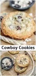 This is the BEST EVER Cowboy Cookies recipe! It's an easy cookie recipe that combines chocolate chips, and oatmeal for a chocolaty, chewy, cookie that everyone loves. It's also the first cookie recipe that I made into a cookie in a jar recipe! Cowboy cookies are a great after school snack and an awesome Christmas cookie recipe to share at this year's cookie exchange! #cookies #chocolate #oatmeal #christmascookies #cookieexchange #homemadeinterest