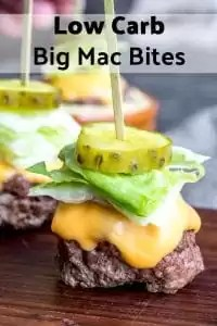 These Low Carb Big Mac Bites are a keto recipe for mini bunless burgers that make a great low carb appetizer or game day food idea! These are one of those easy appetizer recipes that appeals to those doing low carb and those who love all the carbs. Made with ground beef, spices, and Big Mac sauce these keto, or low carb, snacks are out of this world! #lowcarb #keto #lowcarbdiet #burger #sauce #appetizer #partyappetizer #homemadeinterest
