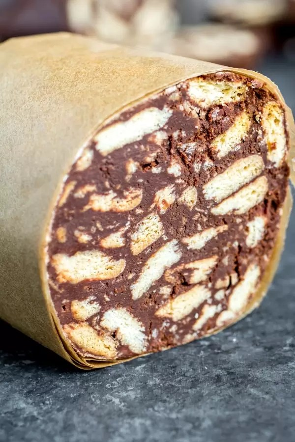 wrapped half of Portuguese Chocolate Salami