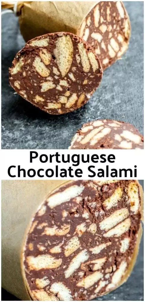 This easy recipe for Chocolate Salami ,or Salame de Chocolate, is a Portuguese dessert or Italian dessert recipe that combines dark chocolate and Maria biscuits (cookies) into an amazing chocolate dessert that is a perfect Christmas dessert. This version is Chocolate Salami with no nuts. #chocolate #christmasdessert #dessert #sweettreat #homemadeinterest