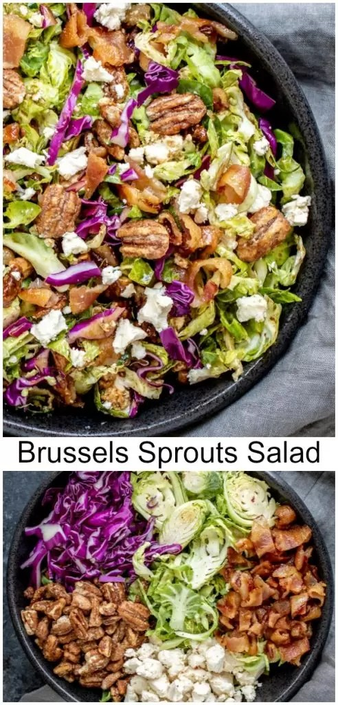 This easy Brussels Sprout Salad is filled with shaved or shredded Brussels sprouts, candied pecans, goat cheese, and bacon, tossed in a balsamic dressing.It is a raw Brussels sprout salad that is served cold. It is a delicious winter salad recipe that makes a delicious Thanksgiving side dish or Christmas side dish. #salad #brusselssprouts #thanksgiving #sidedish #christmas #pecan #homemadeinterest