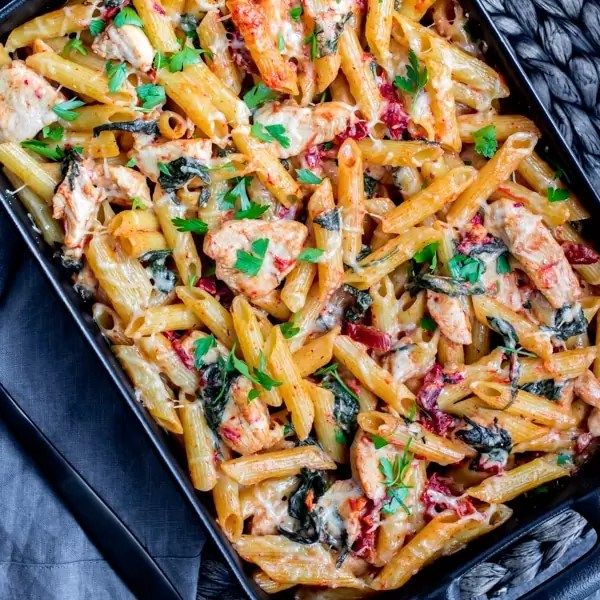 Chicken Florentine Casserole in black dish