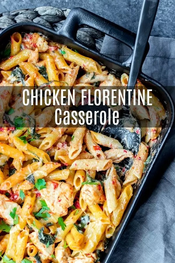 This simple Chicken Florentine Pasta is cooked in a skillet and then tossed with cheese and baked. It is an easy chicken casserole made with spinach, sun dried tomatoes, and a creamy sauce. This is a chicken florentine recipe that the whole family will love. #pasta #casserole #chicken #easyrecipes #dinnerrecipes #baked #homemadeinterest