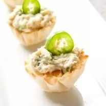 Chicken Jalapeno Popper Cups with jalapeno slice