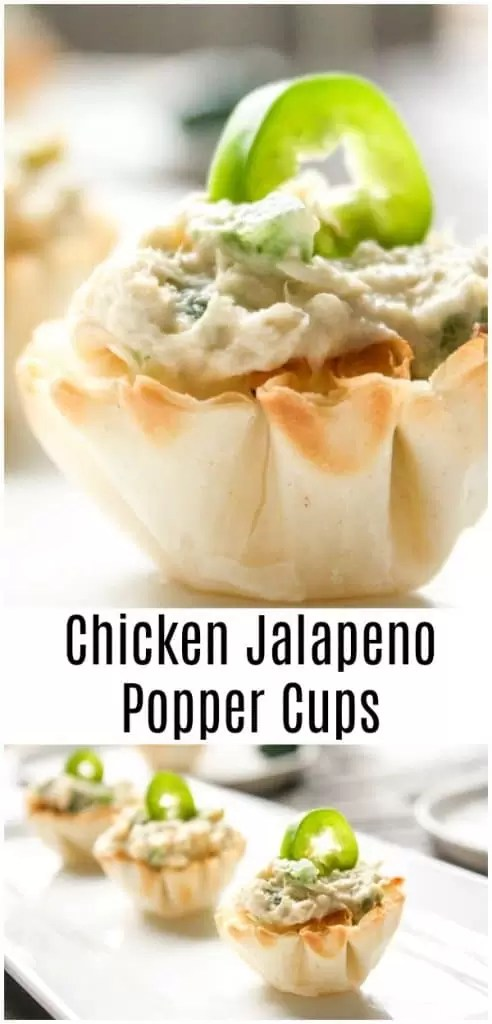 These easy Chicken Jalapeno Popper Cups are made with phyllo cups stuffed with a creamy chicken jalapeno filling. It is the perfect bite size appetizer for parties. They are an easy phyllo cup appetizer made with flaky phyllo (or fil or fillo) shells that have been stuffed with creamy chicken and jalapenos. #jalapeno #appetizer #bitesizeappetizer #gameday #spicy #christmas #newyears #partyfood #homemadeinterest