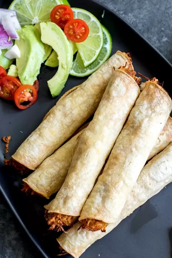 Chicken Taquitos and avocado