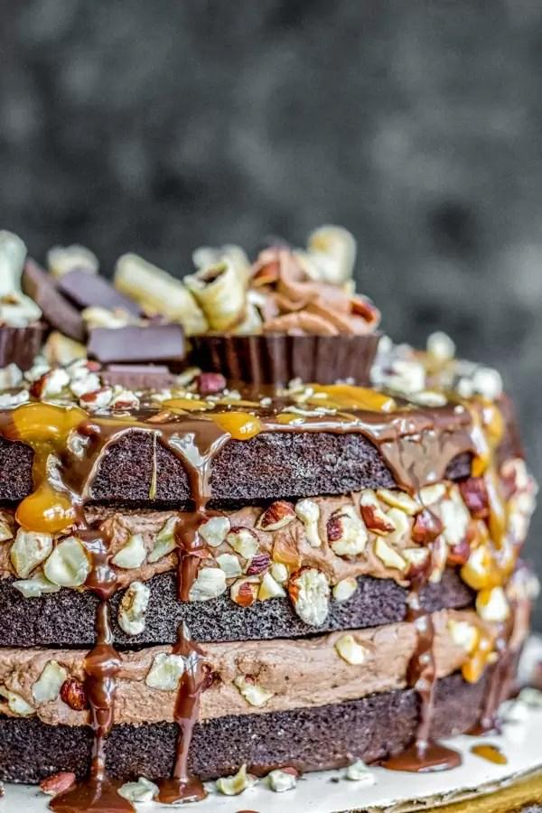 Chocolate Hazelnut Brownie Cake layered with nutella
