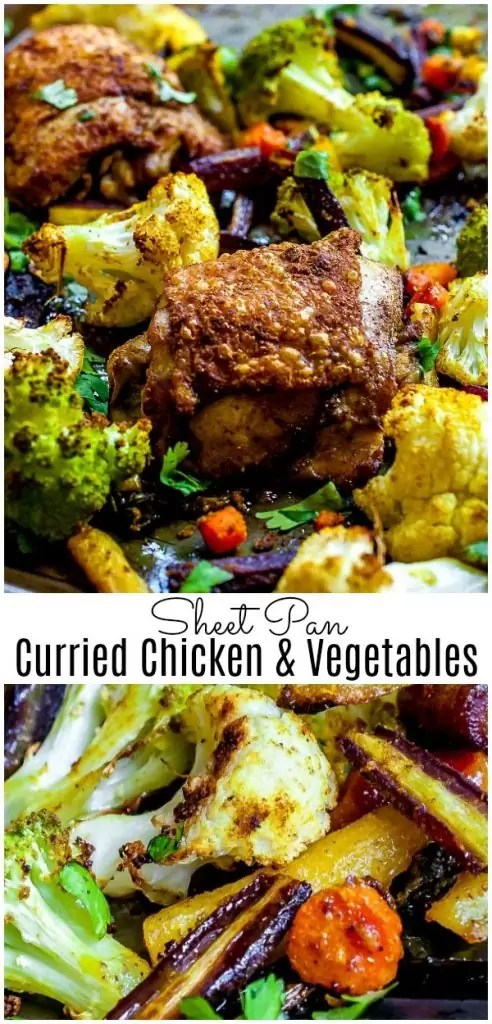This Sheet Pan Curried Chicken and Vegetables is an easy, healthy, dinner recipe made with chicken thighs and veggies tossed curry powder and oven baked. Whole 30 and Paleo this easy weeknight dinner recipe is a favorite in my house. #curry #chicken #sheetpan #easydinnerrecipes #cauliflower #homemadeinterest
