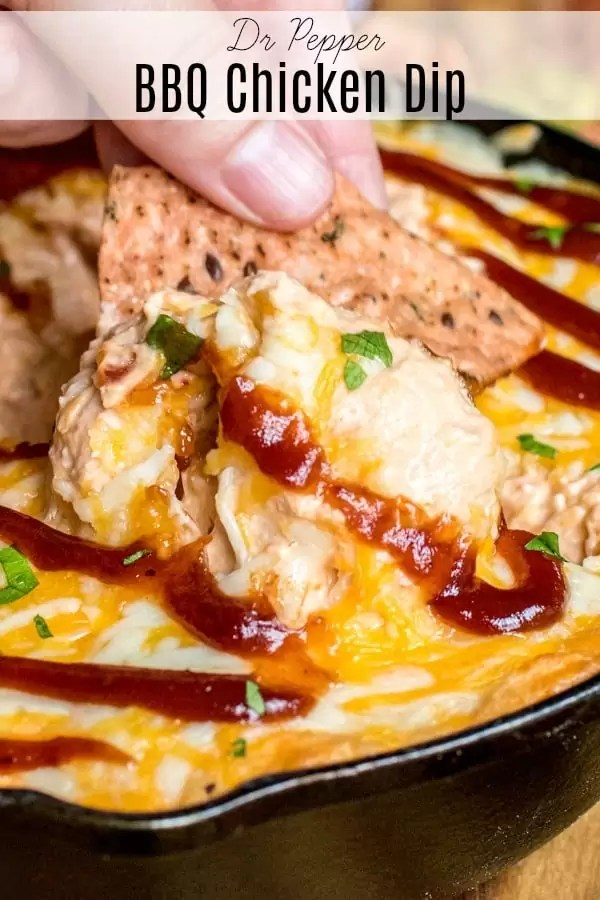 This easy Dr Pepper BBQ Chicken Dip is the perfect recipe for football season! Dr Pepper BBQ sauce, cream cheese, sour cream, mayonnaise, chicken, and cheese are baked together for a sweet and savory hot dip that makes a great party appetizer. #gamedayrecipes #gameday #football #dip #bbq #cheese #drpepper #homemadeinterest