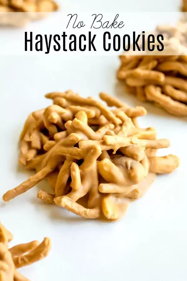 No Bake Haystack Cookies are an easy cookie recipe made with creamy peanut butter and butterscotch, crunchy chow mien noodles, and salty peanuts.There are lots of variations including making them with marshmallows or chocolate. They are a simple Christmas cookie recipe that is perfect for this year's cookie exchange! #christmascookies #nobake #butterscotch #cookie #peanutbutter #christmasdessert #sweetandsalty #homemadeinterest