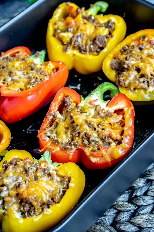 Mexican Stuffed Peppers on platter