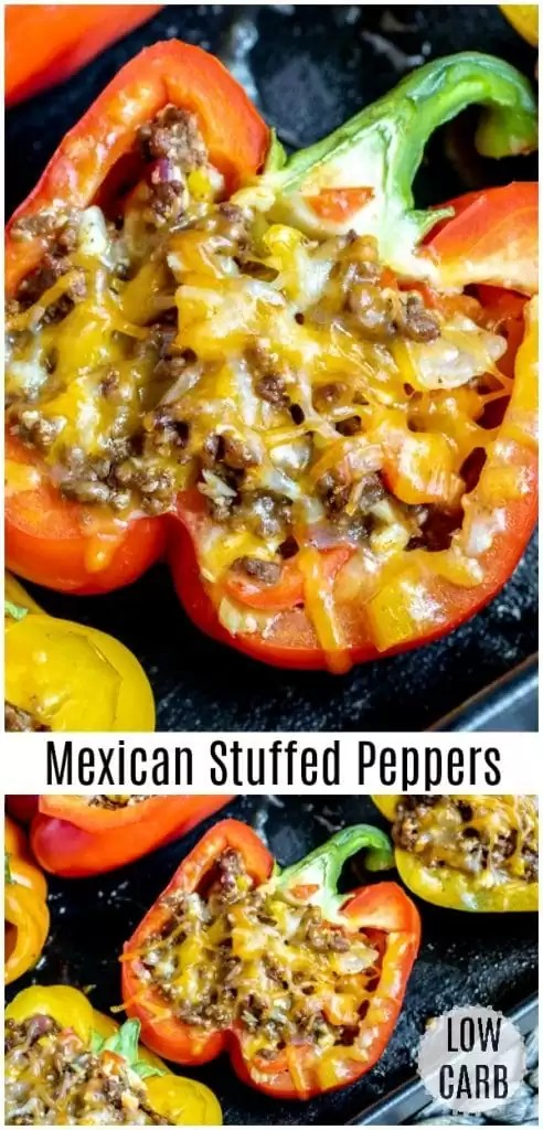 These Mexican Stuffed Peppers are a healthy low carb dinner recipe made with ground beef, cauliflower rice, and lots of cheese. This is an easy keto recipe that is perfect for weeknight dinners. Make stuffed peppers ahead of time and have them ready to heat up all week long. #makeahead #easydinnerrecipes #lowcarbdiet #lowcarb #keto #stuffedpeppers #peppers #groundbeef #cauliflowerrice #homemadeinterest
