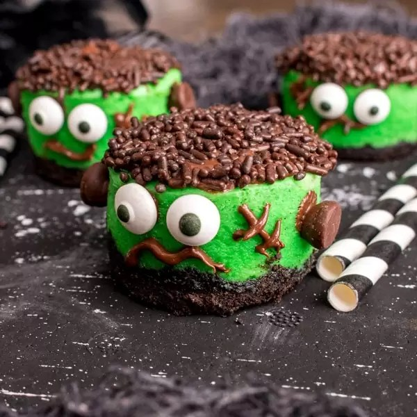 Halloween dessert Mini Frankenstein Cheesecakes