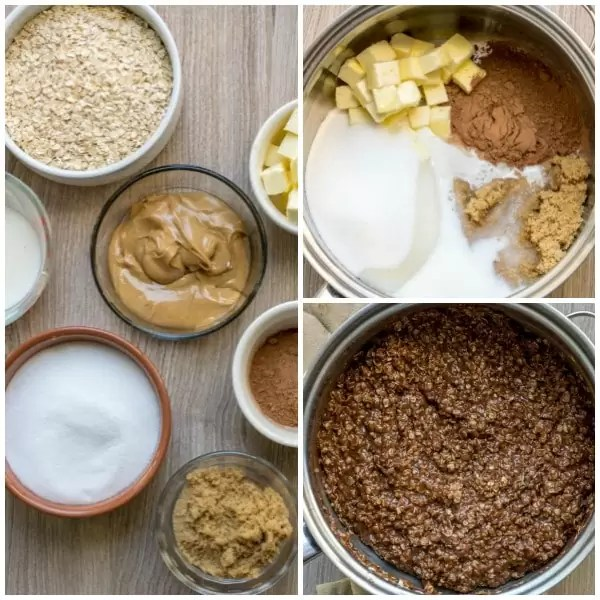 Ingredients and step-by-step process for making no bake chocolate oatmeal cookies