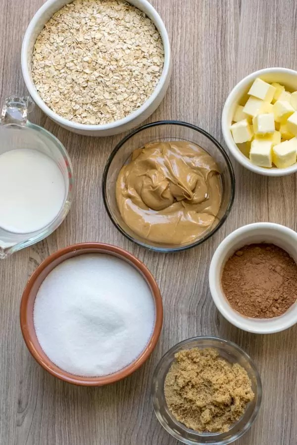 Ingredients for No Bake Chocolate Oatmeal Cookies