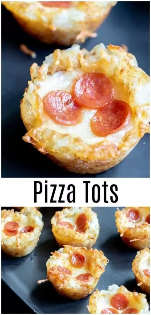 Pizza Tots are the ultimate football party food idea for feeding a crown on game night. Crispy tater tot cups filled with pizza sauce, melted mozzarella and mini pepperonis, Pizza Tots are perfect for Super Bowl parties, March Madness parties, or even just a fun spin on pizza night for the family! #tatertots #pizza #appetizer #football #footballparty #gamedayfood #bitesize #homemadeinterest