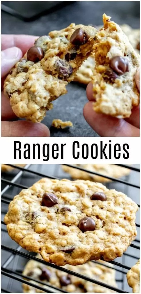 This easy Ranger Cookies recipe (sometimes called Texas Ranger cookies) is made with chocolate chips, oatmeal, and Rice Krispies. You can also make them with corn flakes and coconut. Ranger cookies are an old fashioned cookie recipe that makes the best soft, chewy Ranger Cookies! #cookies #chocolatechips #christmascookies #cookieexchange #homemadeinterest