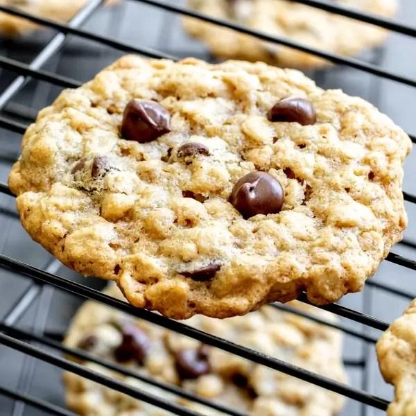 homemade Ranger cookies on cooling rack