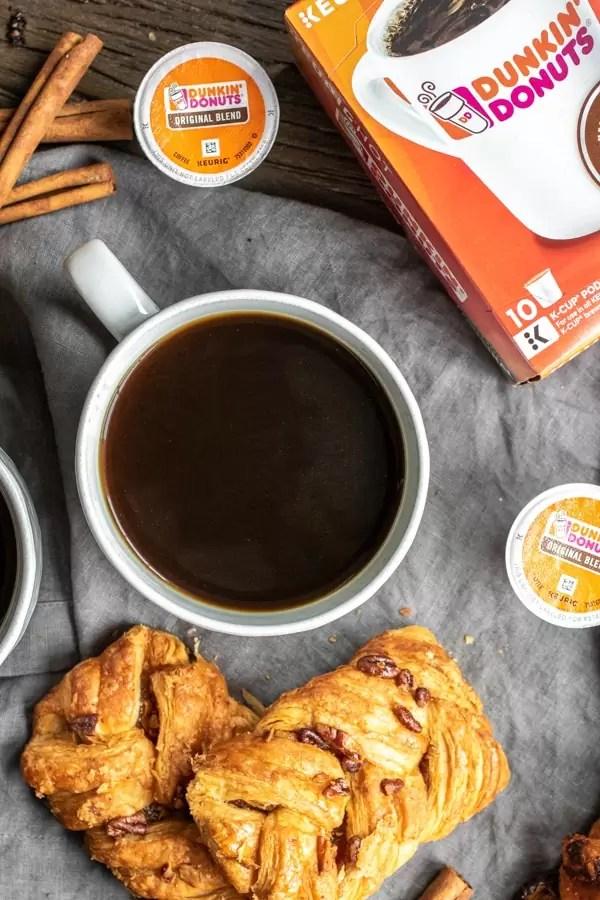 mug of black Dunkin Donuts Cinnamon Coffee