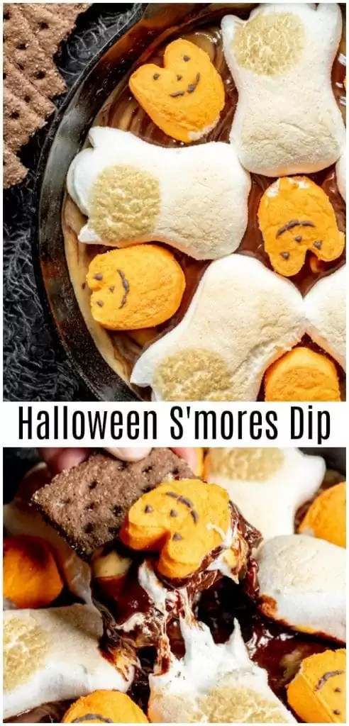 This easy Halloween S'mores Dip is baked in the oven to give you perfectly toasted marshmallows over delicious chocolate and peanut butter swirl made in the microwave. Chocolate chips, peanut butter chips, and Halloween Peeps make this easy Halloween dessert perfect for Halloween parties for kids or adults! #halloween #halloweenparty #smores #chocolate #marshmallows #partyfood #dip #sweettreats #homemadeinterest