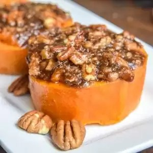 Mini Sweet Potato Casserole with brown sugar and pecans baked on top