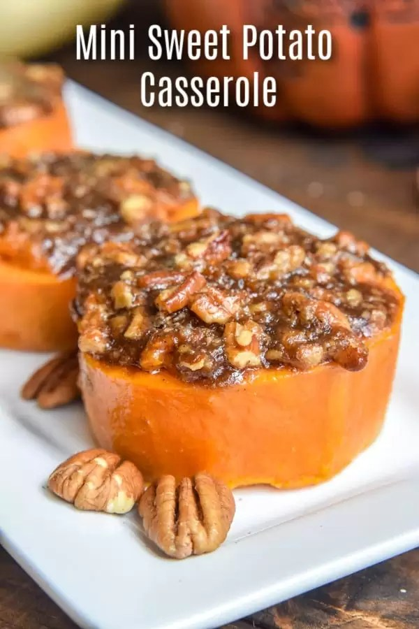 This easy Mini Sweet Potato Casserole recipe is made with pecans and, if you like, with marshmallows. It is individual sweet potato casseroles that are the BEST Thanksgiving side dish recipe. Brown sugar, pecans, butter, and toasted marshmallows on top of sweet potato slices for the perfect single serving of sweet potato casserole. #thanksgiving #thanksgivingsidedishes #sidedish #sweetpotatoes #casserole #homemadeinterest