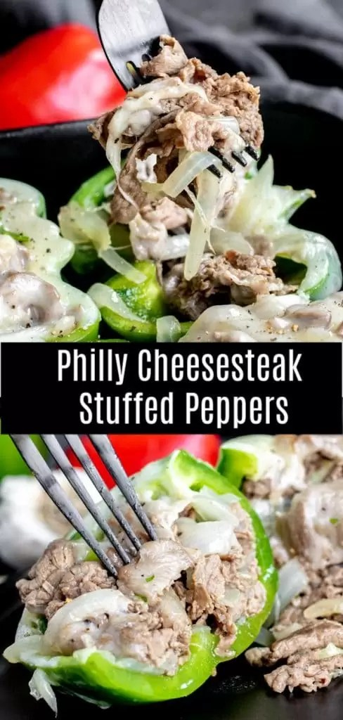 This low carb recipe for Philly Cheesesteak Stuffed Peppers is packed full of thinly sliced steak and onions, stuffed into green bell peppers, and topped with melted provolone cheese. It is a low carb, keto dinner recipe that can be made ahead of time and stored in the freezer. Perfect for low carb meal prep! #stuffedpeppers #steak #beef #easydinnerrecipes #cheesesteak #lowcarb #keto #lowcarbrecipes #ketorecipes #homemadeinterest