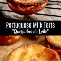 Portuguese Milk Tarts, Queijadas de Leite, are a traditional Portuguese dessert recipe made with simple ingredients. Milk, sugar, butter, eggs, and a little flour bake up into sweet, creamy pastries that you can find in many Portuguese bakeries. #portuguese #baking #tart #milk #dessert #sweettreats #cupcake #homemadeinterest