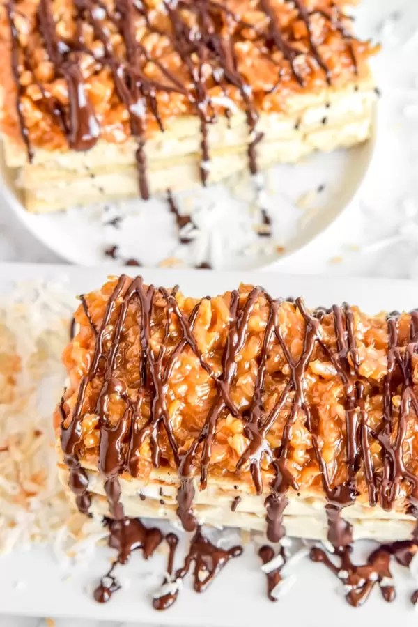 Samoa Napoleons like Girl Scouts cookies